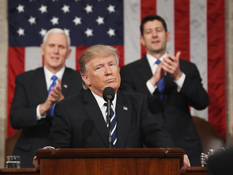 President Trump delivers his first address to a joint session of Congress in Washington DC on 28 February: Getty