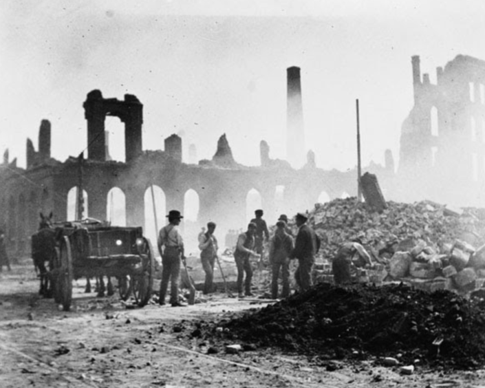 Clearing up after the fire, looking south-east from near Bay Street, April 1904 City of Toronto Archives (Series 402, Item 8)