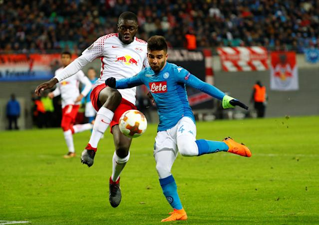 Soccer Football - Europa League Round of 32 Second Leg - RB Leipzig vs Napoli - Red Bull Arena, Leipzig, Germany - February 22, 2018 Napoli's Lorenzo Insigne scores their second goal REUTERS/Fabrizio Bensch