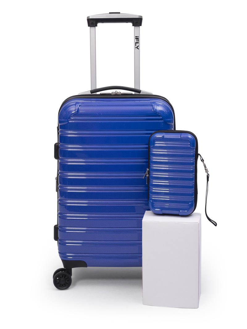 "iFLY Hard Sided Luggage Fibertech 20"" & Travel Case, Electric Blue. (Photo: Walmart)"