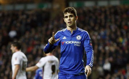 File photo of Chelsea's Oscar celebrating a goal.  Action Images via Reuters / John Sibley Livepic