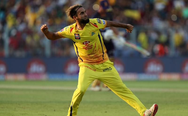 Imran Tahir of Chennai Super Kings celebrates wicket of Chris Lynn of Kolkata Knight Riders during match 29 of the Vivo Indian Premier League Season 12, 2019 between the Kolkata Knight Riders and the Chennai Super Kings held at the Eden Gardens Stadium in Kolkata on the 14th April 2019 Photo by: Prashant Bhoot /SPORTZPICS for BCCI