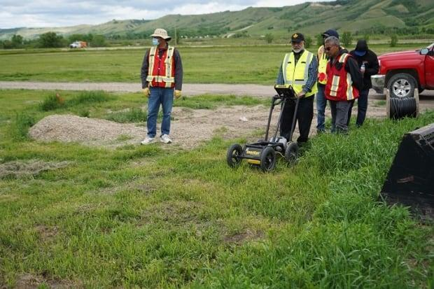 Ground penetrating radar work began on June 2 and will be used in the future to aid the Cowessess First Nation in locating more unmarked gravesites its Chief Cadmus Delorme said.  (Submitted by Cowessess First Nation - image credit)