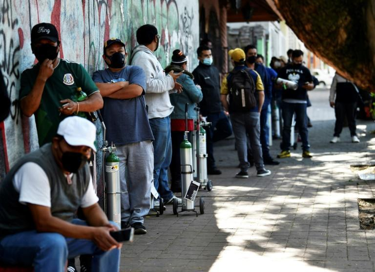 In January people queuing up to refill oxygen tanks for sick relatives were a common sight in Mexico City