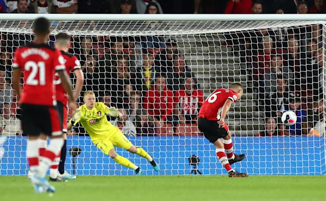 """Soccer Football - Premier League - Southampton v AFC Bournemouth - St Mary's Stadium, Southampton, Britain - September 20, 2019 Southampton's James Ward-Prowse scores their first goal from the penalty spot REUTERS/Eddie Keogh EDITORIAL USE ONLY. No use with unauthorized audio, video, data, fixture lists, club/league logos or """"live"""" services. Online in-match use limited to 75 images, no video emulation. No use in betting, games or single club/league/player publications. Please contact your account representative for further details."""