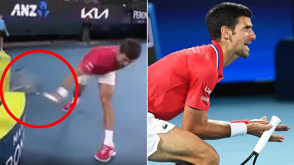 Novak Djokovic can be seen smashing a racquet here in Serbia's ATP Cup tie against Germany.