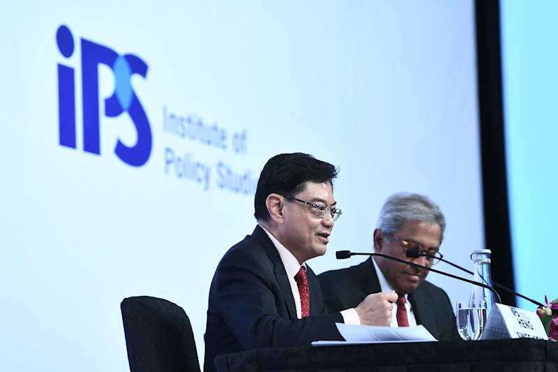 "Deputy Prime Minister and Finance Minister Heng Swee Keat speaking at the Singapore Perspectives 2020 ""Politics"" event on 20 January 2020 - (PHOTO: Jacky Ho/the Institute of Policy Studies, NUS)"