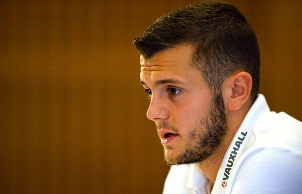 Jack Wilshere speaking at a press conference on Tuesday
