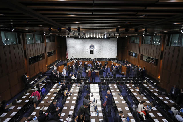 <p>The hearing room is prepared for Former FBI Director James Comey to appear before the Senate Intelligence Committee, on Capitol Hill, Thursday, June 8, 2017, in Washington. (Photo: Alex Brandon/AP) </p>
