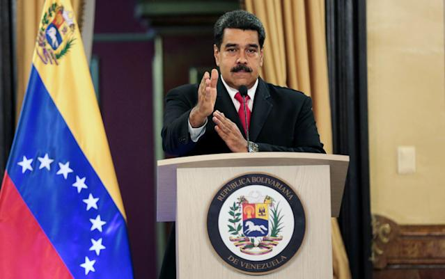 <p>President Nicolas Maduro offering statements to the press, in Caracas, Venezuela, Aug. 4, 2018. Maduro claimed that the Colombian President Juan Manuel Santos, and far-right elements in Venezuela had attempted to assassinate him using a pair of drones flying over a military ceremony. (Photo: Miraflores Press Office/Handout/EPA-EFE/REX/Shutterstock) </p>