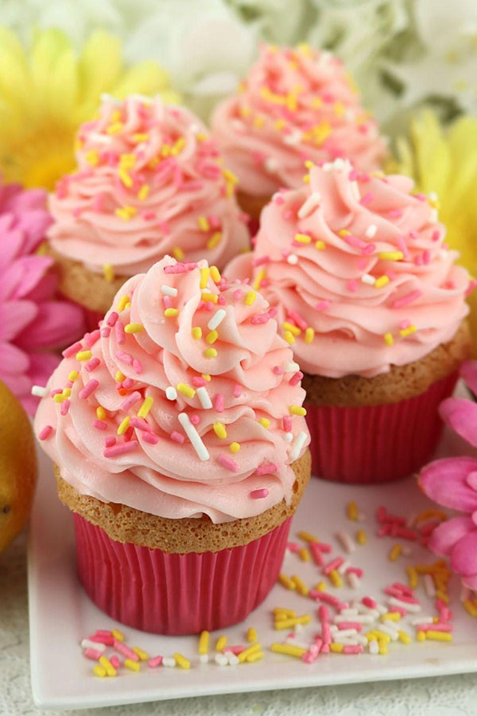 "<p>These soft pink cupcakes just embody spring and make a beautiful treat for Mother's Day. The pink lemonade buttercream frosting brings a tart sweetness to the light angel food base that's absolutely delightful. </p><p><strong>Get the recipe at <a href=""http://www.twosisterscrafting.com/angel-food-cupcakes-with-pink-lemonade-frosting/"" rel=""nofollow noopener"" target=""_blank"" data-ylk=""slk:Two Sisters Crafting"" class=""link rapid-noclick-resp"">Two Sisters Crafting</a>.</strong></p>"