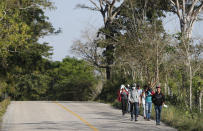 Migrants walk on the highway from Frontera Corozal to Palenque, Chiapas state, Mexico, Wednesday, March 24, 2021. (AP Photo/Eduardo Verdugo)