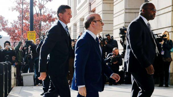 PHOTO:Former U.S. National Security Adviser Michael Flynn, left, with his attorney Robert Kelner, center, as he arrives for a plea hearing at U.S. District Court in Washington,D.C., Dec. 1, 2017. (Jonathan Ernst/Reuters)
