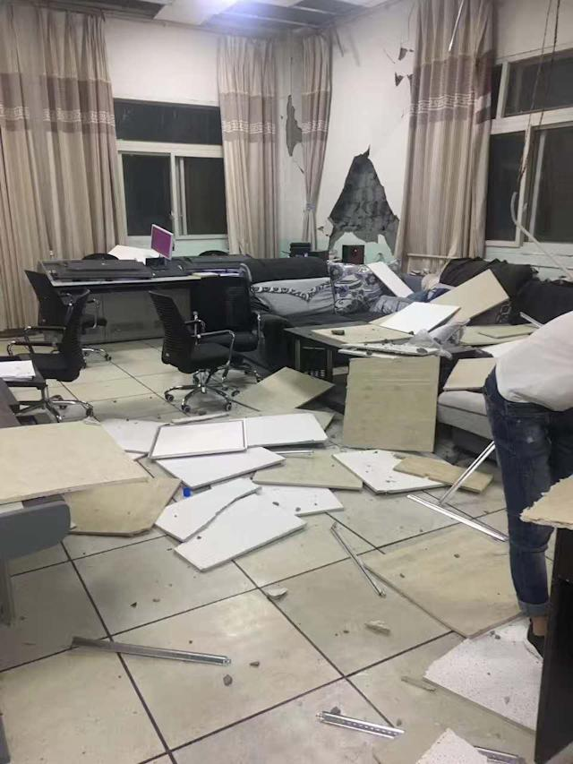 <p>Tiles fall off inside a house at Jiuzhaigou County on Aug. 9, 2017 in Tibetan and Qiang autonomous prefecture of Aba, Sichuan Province of China. A magnitude-7.0 earthquake struck Jiuzhaigou County at 9:19 pm on Tuesday. (Photo: VCG via Getty Images) </p>