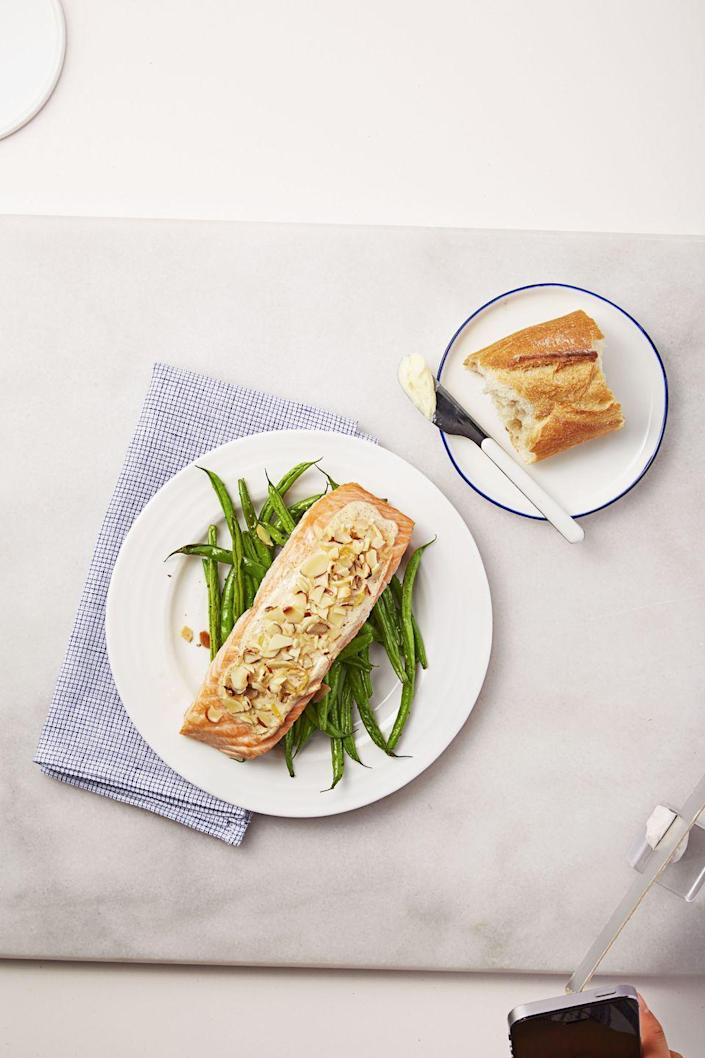 """<p>Coat your fish with nuts to add great crunch, flavor, <em>and </em>nutrients (hello, Vitamin E!). </p><p><a href=""""https://www.goodhousekeeping.com/food-products/a32681/almond-crusted-creole-salmon/"""" rel=""""nofollow noopener"""" target=""""_blank"""" data-ylk=""""slk:Get the recipe for Almond-Crusted Creole Salmon »"""" class=""""link rapid-noclick-resp""""><em>Get the recipe for Almond-Crusted Creole Salmon »</em></a> </p>"""