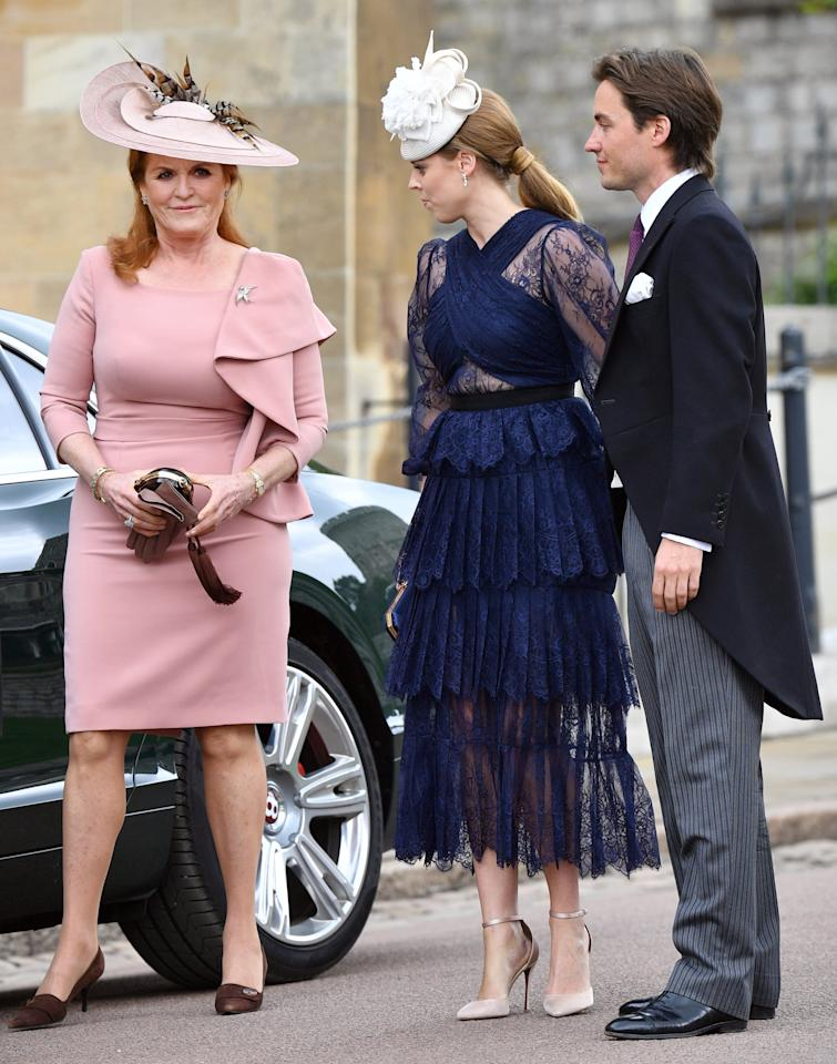 "<p>While it was never confirmed if Edo accompanied Beatrice at <a href=""https://www.popsugar.com/celebrity/Princess-Eugenie-Jack-Brooksbank-Wedding-Pictures-45301097"" class=""ga-track"" data-ga-category=""Related"" data-ga-label=""https://www.popsugar.com/celebrity/Princess-Eugenie-Jack-Brooksbank-Wedding-Pictures-45301097"" data-ga-action=""In-Line Links"">her sister Eugenie's wedding</a> in October 2019, he did serve as her date to the nuptials of <a href=""https://www.popsugar.com/celebrity/Lady-Gabriella-Windsor-Wedding-Pictures-46173865"" class=""ga-track"" data-ga-category=""Related"" data-ga-label=""https://www.popsugar.com/celebrity/Lady-Gabriella-Windsor-Wedding-Pictures-46173865"" data-ga-action=""In-Line Links"">Lady Gabriella Windsor and Thomas Kingston</a> at St. George's Chapel in May 2019.</p>"