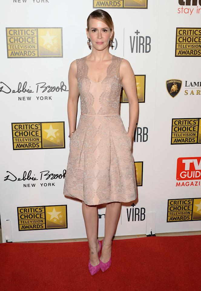 LOS ANGELES, CA - JUNE 10: Actress Sarah Paulson arrives at Broadcast Television Journalists Association's third annual Critics' Choice Television Awards at The Beverly Hilton Hotel on June 10, 2013 in Los Angeles, California. (Photo by Jason Merritt/Getty Images)