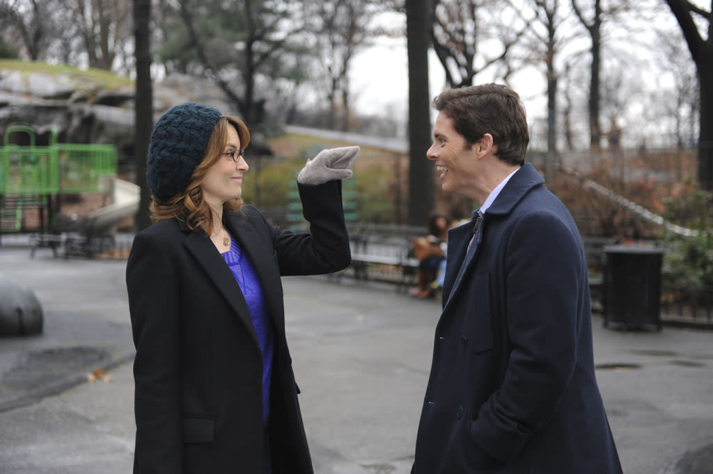 "30 ROCK -- ""Part 1: Hogcock! Part 2: Last Lunch"" Episode 712/713 -- Pictured: (l-r) Tina Fey as Liz Lemon, James Marsden as Criss"