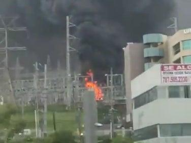 A fire at a Luma power facility in Puerto Rico that knocked out power for 800,000 customers (screengrab)