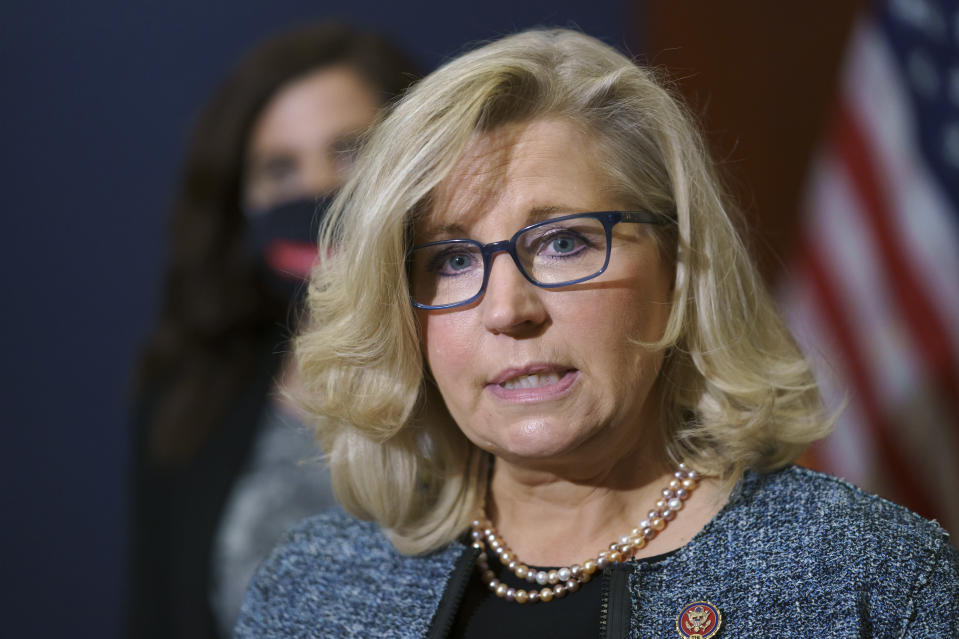 FILE - In this April 20, 2021, file photo Rep. Liz Cheney, R-Wyo., the House Republican Conference chair, speaks with reporters following a GOP strategy session on Capitol Hill in Washington. Donald Trump and his supporters are intensifying efforts to shame members of the party who are seen as disloyal to the former president and his false claims that last year's election was stolen from him.(AP Photo/J. Scott Applewhite,File)