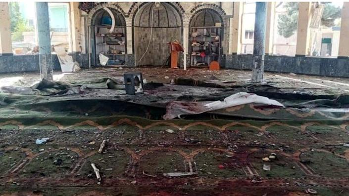 Debris and bloodstains inside a mosque in Kunduz, Afghanistan.  Photo: October 8, 2021
