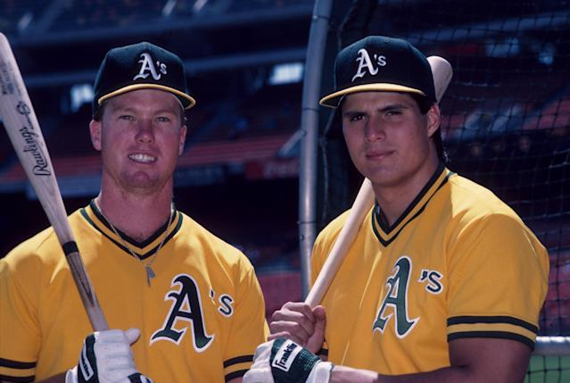 "<a class=""link rapid-noclick-resp"" href=""/mlb/teams/oak"" data-ylk=""slk:Oakland Athletics"">Oakland Athletics</a> teammates Mark McGwire and Jose Canseco in 1990. (Getty)"