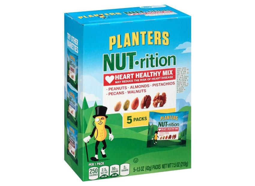<div><span>Per Pack</span>: 250 Calories, 23 g fat (2.5 g saturated fat), 50 mg sodium, 8 g carbs (4 g fiber, 2 g sugar), 9 g protein</div>         Eating nut mixes can easily become a calorie-filled trap, sometimes they're extremely high in sugar when you're eating renditions with sweet pieces of raisins and chocolate, sometimes they're packed with sodium when they're as tasty as potato chips. But Planters solved that problem. With these pre-portioned packs, you're getting a well-balanced snack — a variety of nutty profiles to please your taste buds, little-to-no sugar or salt to keep that belly flat, and plenty of protein. This high protein snacks mix is the way to go if you're going <em>nuts</em> in the office.