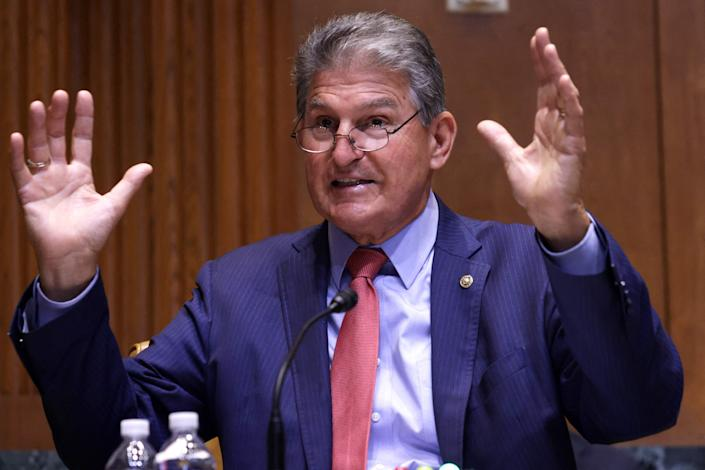 Sen. Joe Manchin, D-W.Va., addresses a Senate Appropriations subcommittee hearing on the HUD proposed 2022 budget on Capitol Hill on June 10.