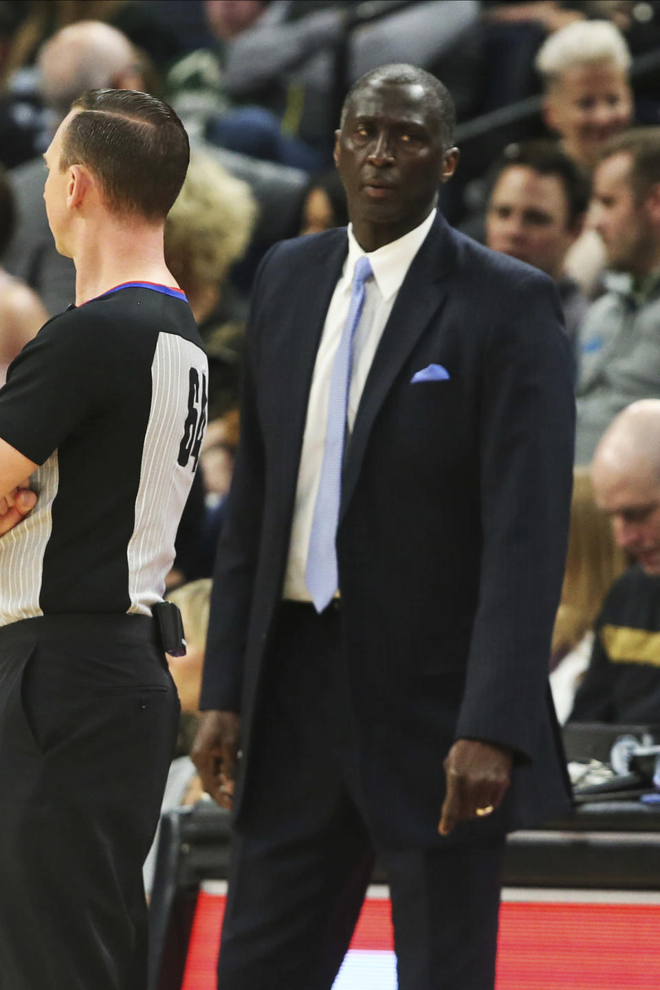 Orlando Magic assistant coach Tyrone Corbin looks on after replacing head coach Steve Clifford in the second half of an NBA basketball game against the Minnesota Timberwolves, Friday, March 6, 2020, in Minneapolis. (AP Photo/Jim Mone)