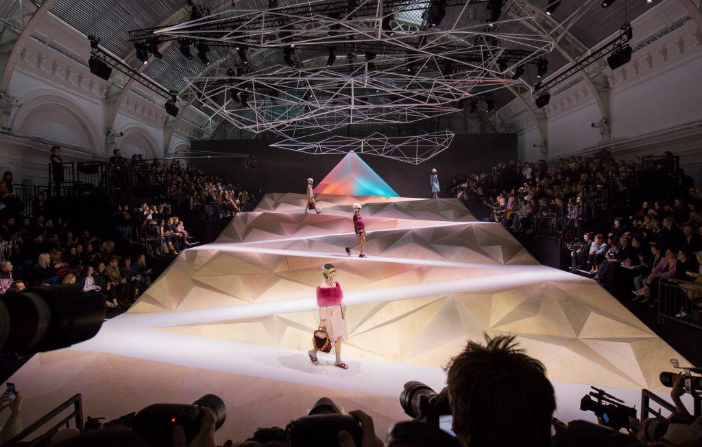 <p>This geometric mountain saw models descending from the heights, which made for a stunning visual display.<br /><em>[Photo: Getty]</em> </p>