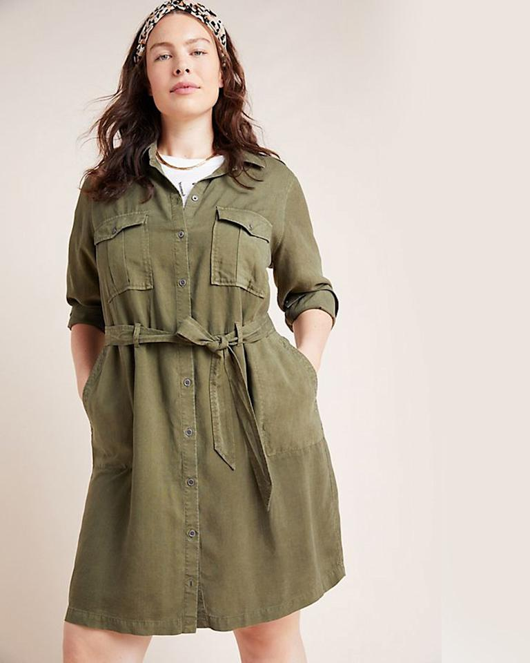 "$150, Anthropologie. <a href=""https://www.anthropologie.com/shop/cloth-stone-eryn-utility-shirtdress?category=SEARCHRESULTS&color=037"">Get it now!</a>"
