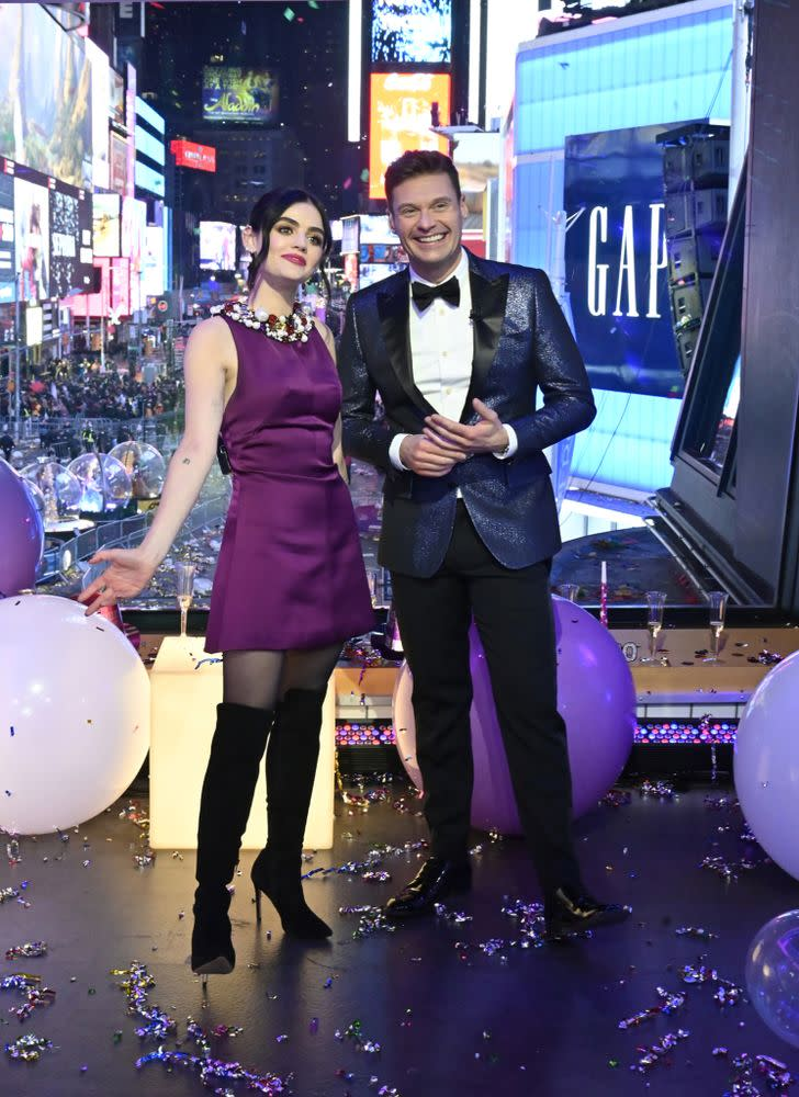 From left: Lucy Hale and Ryan Seacrest   Jeff Neira/ABC via Getty Images