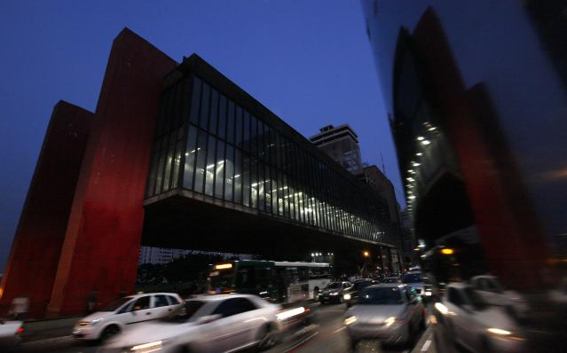 The Sao Paulo Art Museum is pictured at Paulista Avenue in Sao Paulo's financial center, April 8, 2014. Sao Paulo is one of the host cities for the 2014 World Cup in Brazil. REUTERS/Paulo Whitaker (BRAZIL - Tags: SPORT SOCCER WORLD CUP TRAVEL CITYSCAPE)