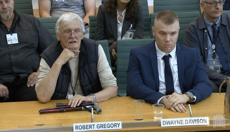 Former Jeremy Kyle Show participants Robert Gregory and Dwayne Davison giving evidence to the DCMS Select Committee. (Photo by House of Commons/PA Images via Getty Images)