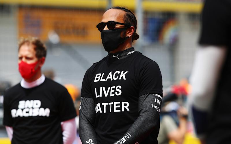 Lewis Hamilton of Great Britain and Mercedes GP is seen on the grid wearing a 'black lives matter' t-shirt prior to the Formula One Grand Prix of Styria at Red Bull Ring on July 12, 2020 in Spielberg, Austria - GETTY IMAGES