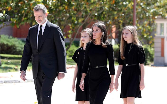King Felipe VI, Princess Leonor, Queen Letizia, and Princess Sofia of Spain paid their respects at the Zarzuela Palace residence - Getty Images Europe