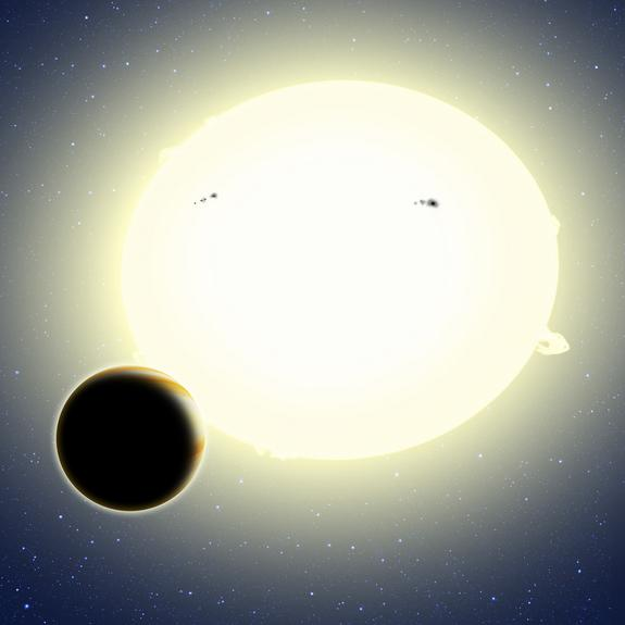 "This artist's concept shows the first planet discovered by NASA's Kepler spacecraft during its K2 mission, a ""super Earth"" called HIP 116454b. The planet has a diameter of 20,000 miles, weighs 12 times as much as Earth and orbits its star once"