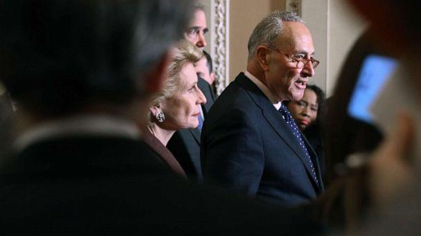 PHOTO: Senate Minority Leader Charles Schumer (D-NY) (C) talks to reporters following the weekly Senate Democratic policy luncheon at the Capitol, Jan. 7, 2020, in Washington, D.C. (Chip Somodevilla/Getty Images)