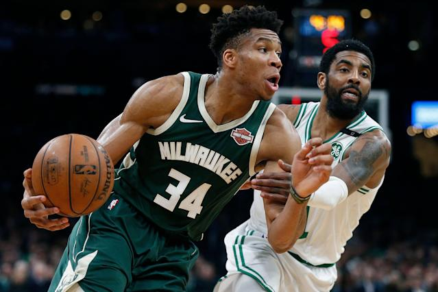 Giannis Antetokounmpo dropped 39 points to lead the Bucks past the Celtics in Game 4 on Monday night, taking a 3-1 series lead. (AP Photo/Michael Dwyer)