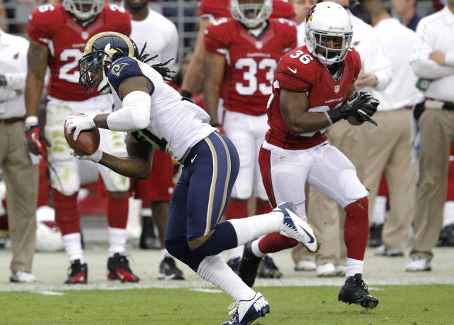 St. Louis Rams cornerback Janoris Jenkins (21) intercepts a pass intended for Arizona Cardinals running back LaRod Stephens-Howling (36) during the first half of an NFL football game, Sunday, Nov. 25, 2012, in Glendale, Ariz. (AP Photo/Ross D. Franklin)