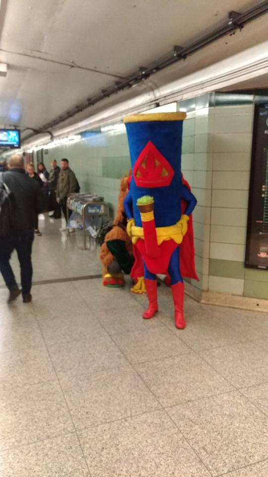 <p>Anybody else run into a giant bong on the subway this morning? #legalizationday<br />Twitter @Macphecr </p>