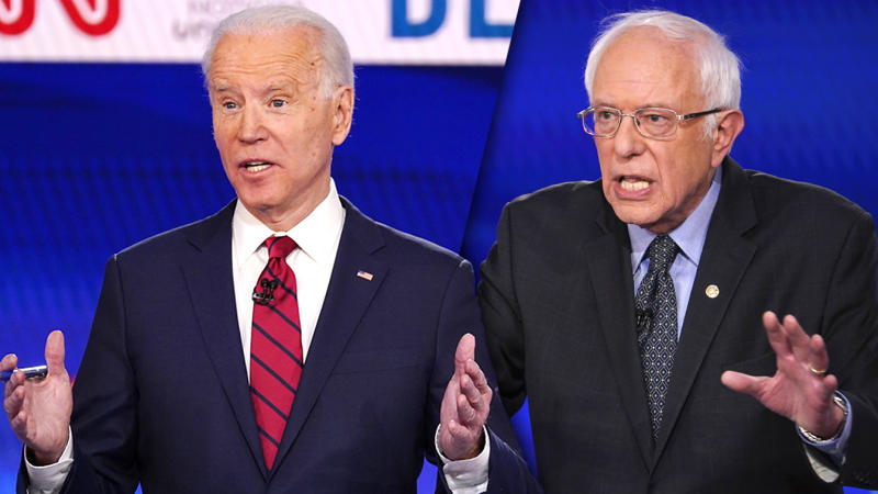 Former Vice President Joe Biden and Sen. Bernie Sanders challenged each other at the Democratic debate. (Mandel Ngan/AFP via Getty Images, Evan Vucci/AP)