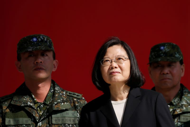 FILE PHOTO: Taiwan's President Tsai Ing-wen visits the 6th Army Command, ahead of Lunar New Year, in Taoyuan