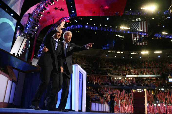Then Sen. Joe Biden (D-Del.), right, is joined onstage by his son, Delaware Attorney General Joseph Biden III, known as Beau, at the Democratic National Convention.