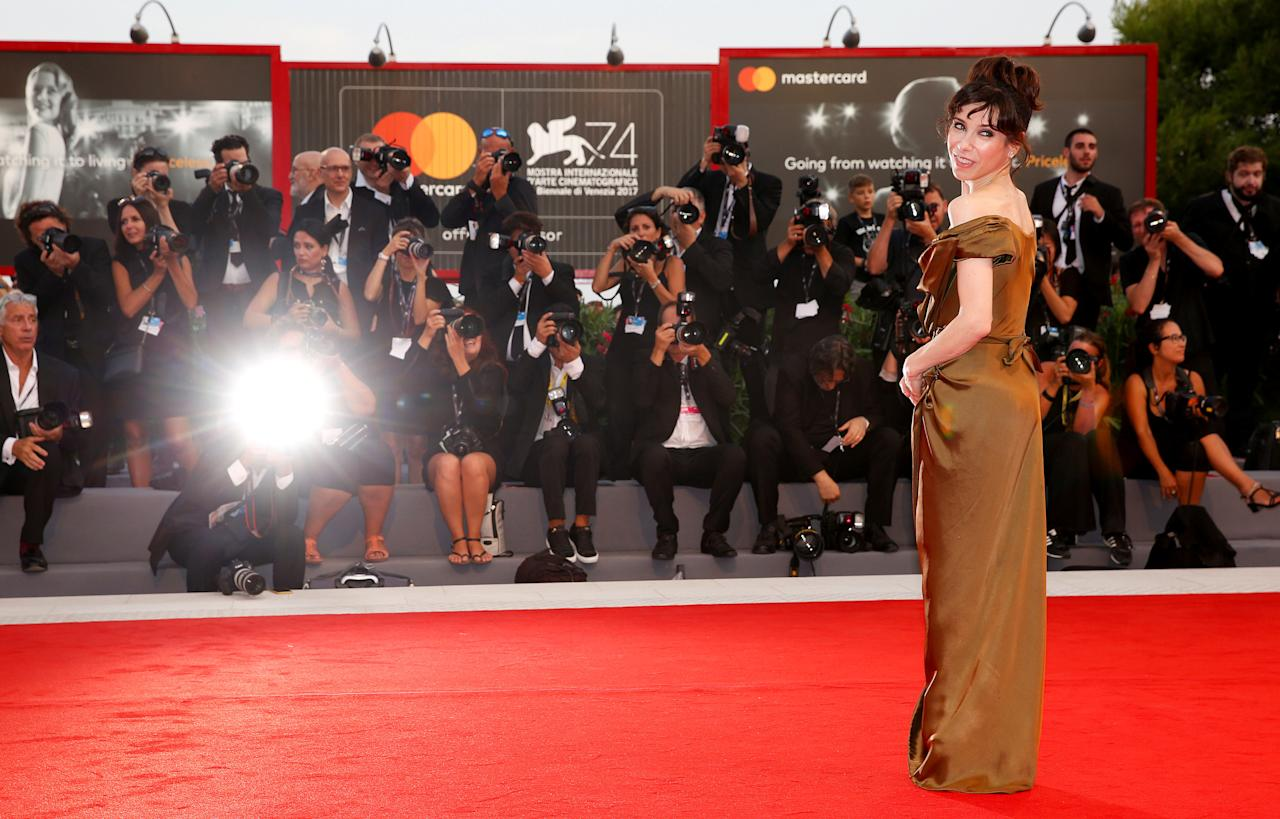 "FILE PHOTO: Actor Sally Hawkins poses during a red carpet event for the movie ""The Shape of Water"" at the 74th Venice Film Festival in Venice, Italy August 31, 2017. REUTERS/Alessandro Bianchi/File Photo"