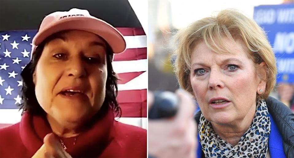 Amy Dalla Mura faces charges of harassing Anna Soubry, right, and is standing against her in the general election. (Left image Youtube/Based Amy, right image PA Images)