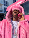 <p>For Halloween the year before, he paid his respects the rapper, Cam'ron. Fun fact: He wore this to Beyoncé and Jay-Z's Halloween party, so of course he <em>had </em>to show out. </p>