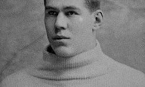 "America's first pro football player, William ""Pudge"" Heffelfinger, is pictured in his Yale University portrait."