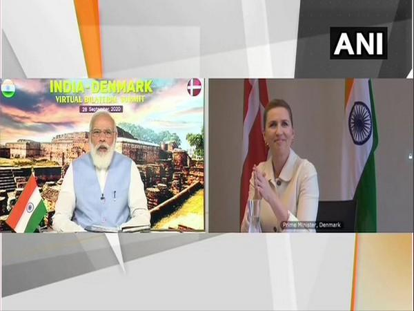 Prime Minister Narendra Modi and his Danish counterpart Mette Frederiksen at the Virtual summit on Monday
