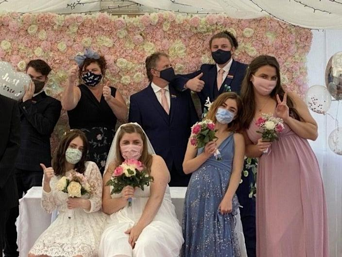 Amber and Kat Arrowsmith-Gavin and their guests during their marriage registration in October 2020 (Amber Arrowsmith-Gavin)